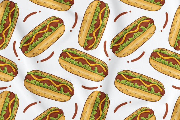 Hotdog Seamless Pattern - product preview 1