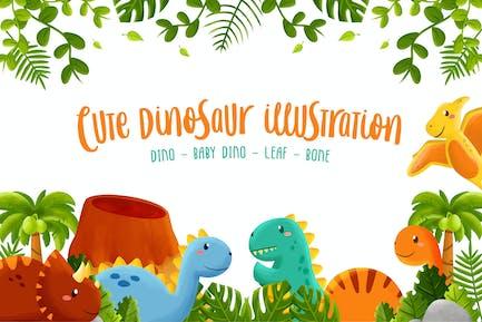 Cute Dinosaur Illustration Collection