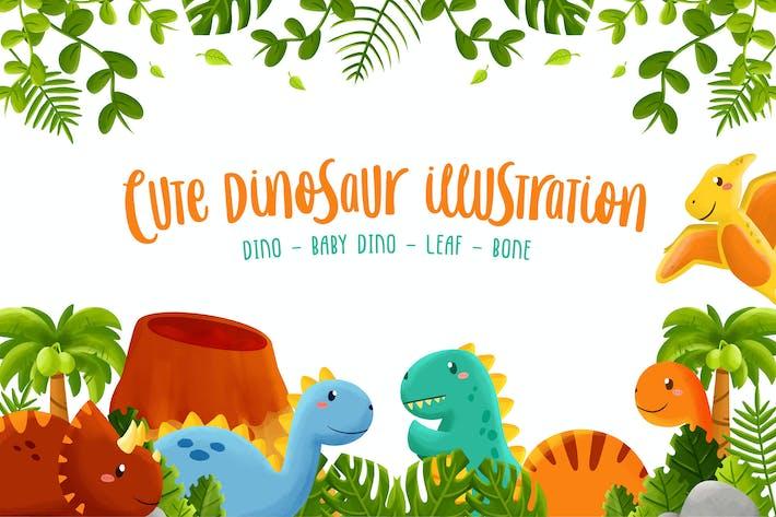 Niedliche Dinosaurier-IllustrationsSammlung
