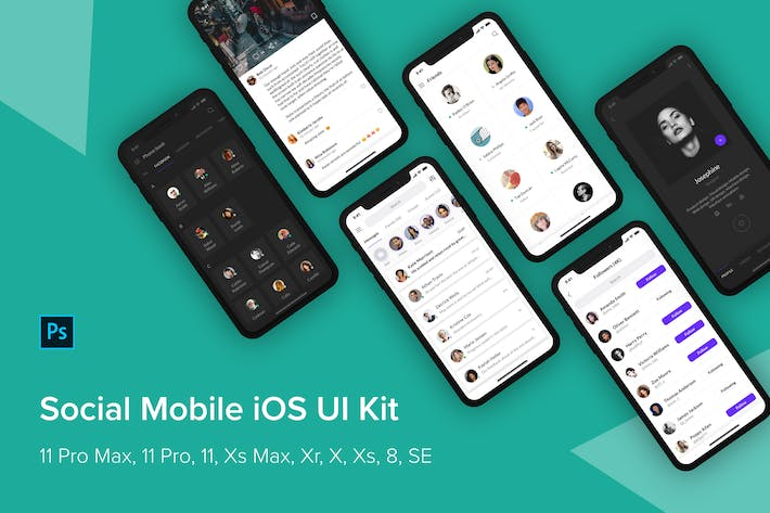 Thumbnail for Social Mobile iOS UI Kit (Photoshop)