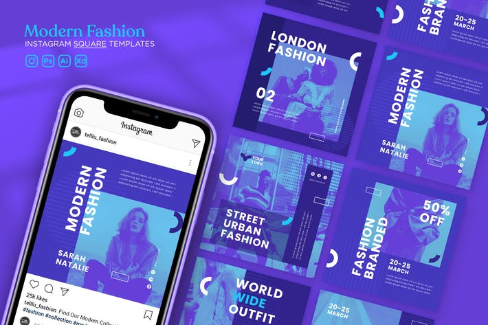Thumbnail for Instagram Square Template Vol.37 Modern Fashion