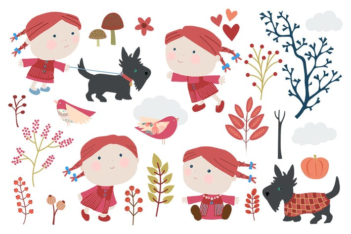 Thumbnail for Out Walking - Cute Seasonal Illustrations