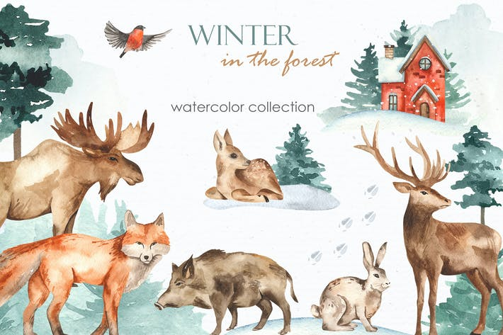 Thumbnail for Winter im Wald Aquarell