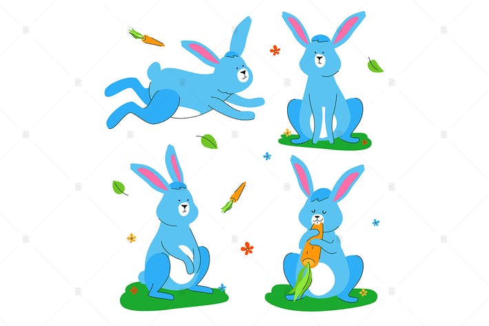 Thumbnail for Cute rabbit - flat design style set of characters