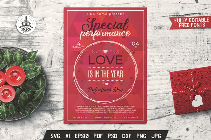 Thumbnail for Valentines Day Card Performance Flyer Brochure