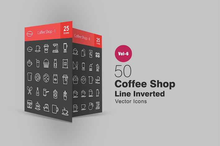 Thumbnail for 50 Coffee Shop Line Inverted Icons