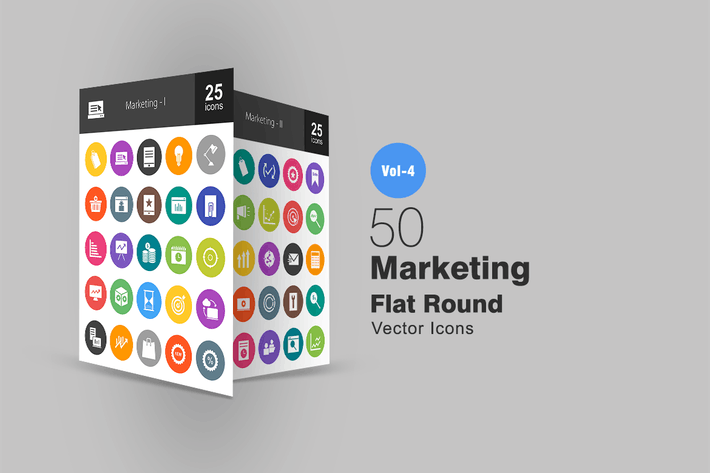 Thumbnail for 50 Marketing Flat Round Icons