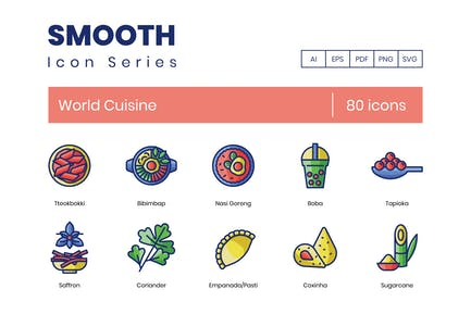 80 World Cuisine Icons - Smooth Serie