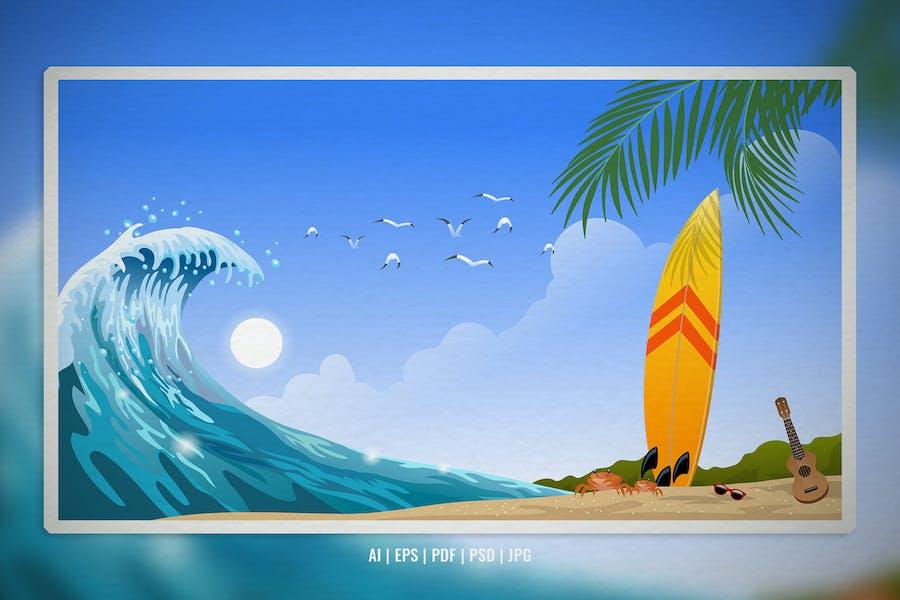 Tropical Summer Surf Beach