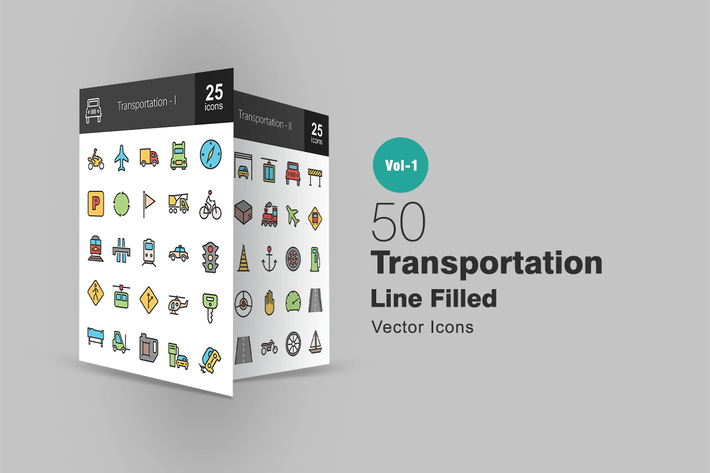 Thumbnail for 50 Transportation Line Filled Icons