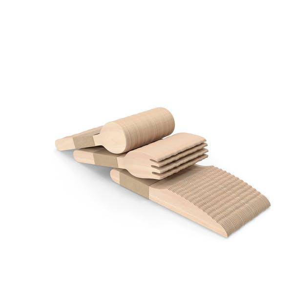 Juego de cubiertos de madera