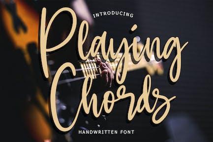 Playing Chords Modern Handwritten Script