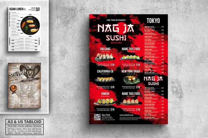 Thumbnail for Affiche Menu Alimentaire Bundle - A3 & Tabloïd US