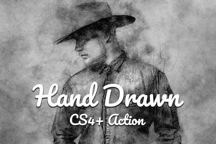 Ручной рисование CS4+ Photoshop Action