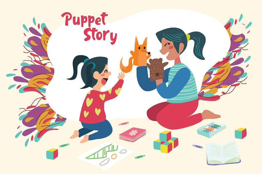 Puppet Story - Vector Illustration