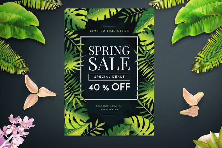 Thumbnail for Tropical Spring Sales Flyer Template
