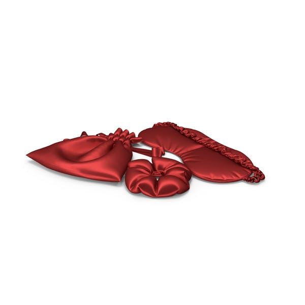 Set of Red Silk Sleep Mask, a Scrunchie and Bag