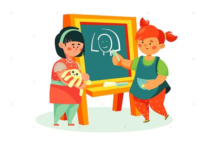 Children drawing - flat design style illustration