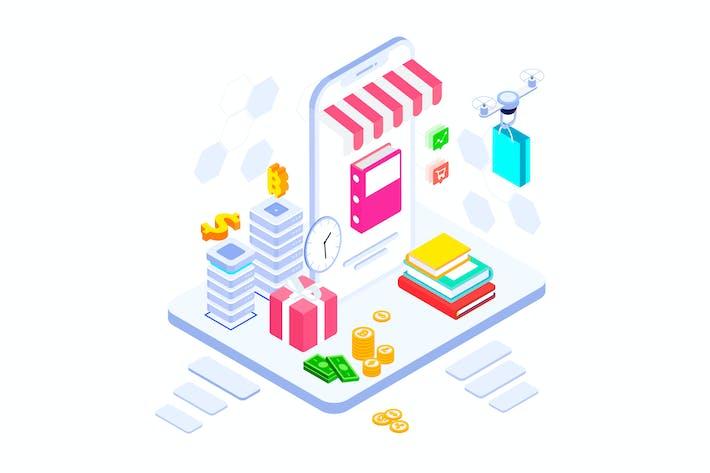 Thumbnail for E-commerce on Blockchain Platform Isometric - FV