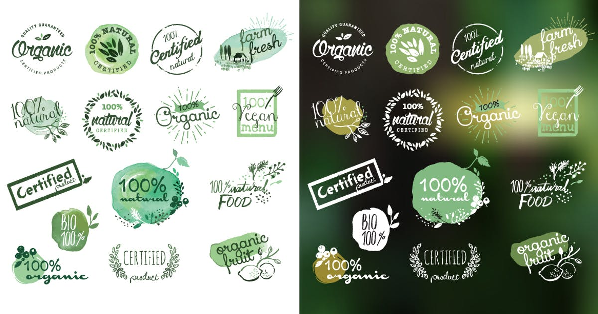 Download Organic products stickers and badges by PureSolution
