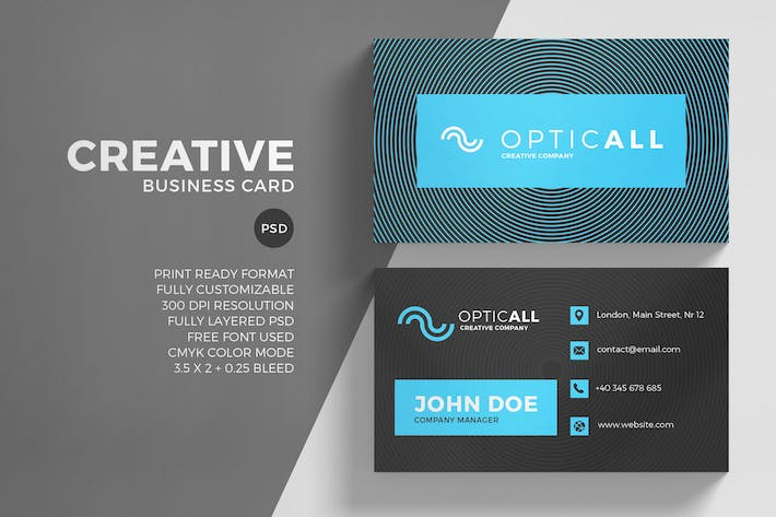 Thumbnail for Blue Creative Business Card Template