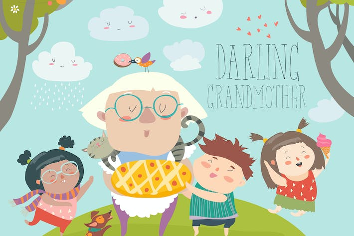Thumbnail for Granny and her grandchildren with cake. Vector