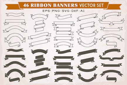 46 Ribbon Banner Silhouetten Vektor-Set