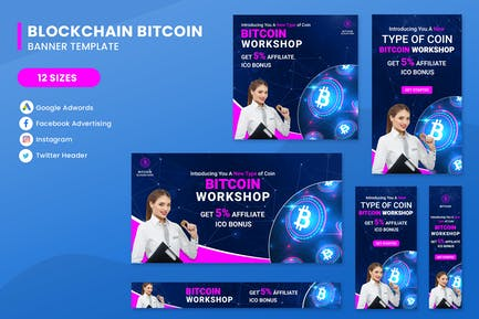 Blockchain Coin Banners Ad Set Template