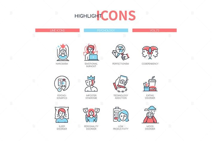 Thumbnail for Psychology concept - line design style icons set