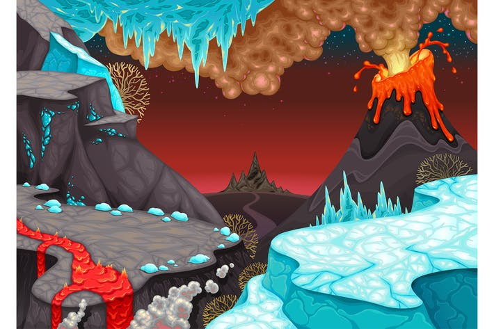 Thumbnail for Prähistorische Landschaft mit Feuer und Eis