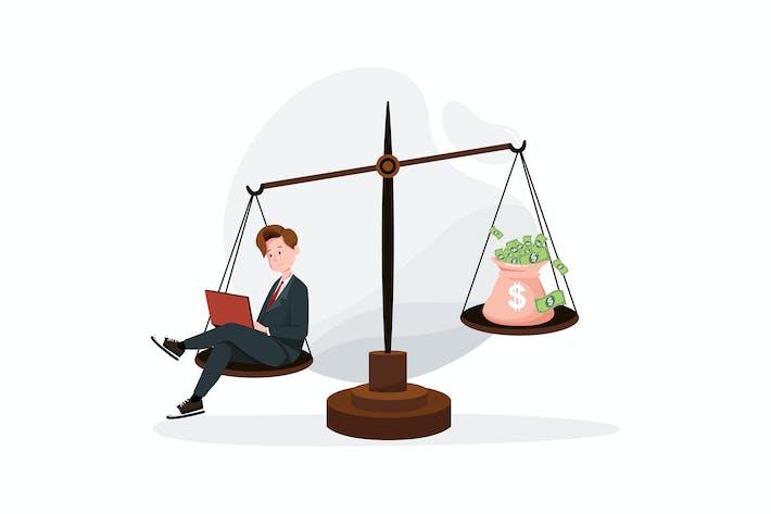 Thumbnail for Geschäftsmann Balance Arbeit und Geld auf einer Waage