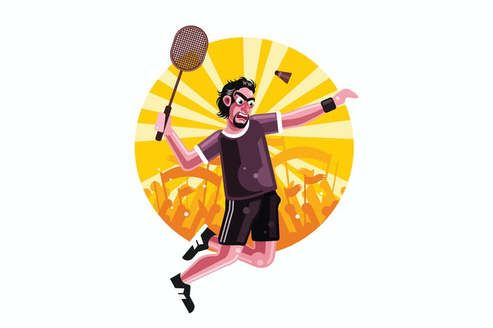Badminton Player Character Vector Illustration
