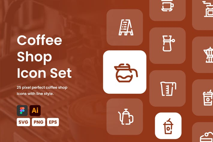 Thumbnail for Coffee Shop Line Icon Set