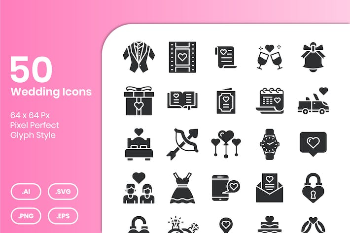 50 Wedding Icons Set - Glyph