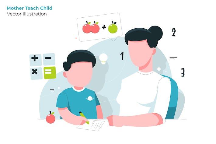 Thumbnail for Mother Teach - Vector Illustration