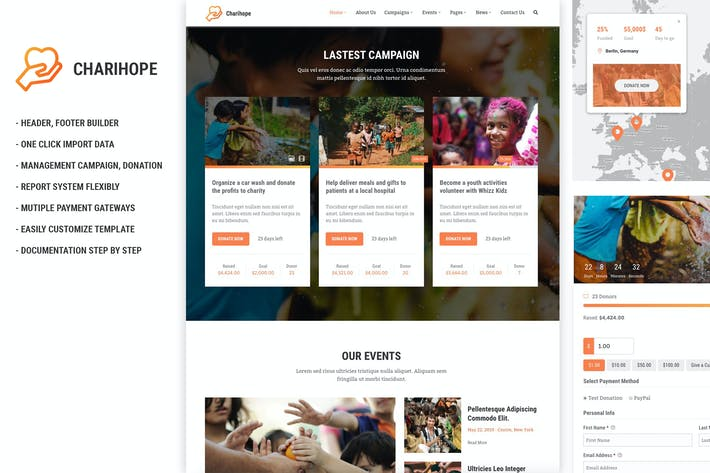 Thumbnail for Charihope - Charity and Donation WordPress Theme