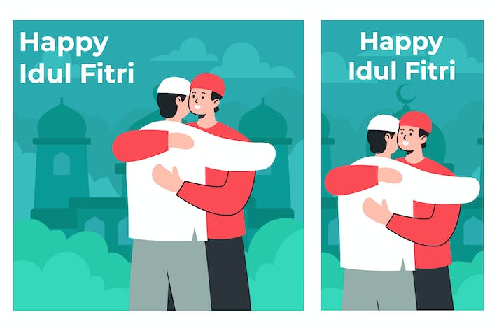 Happy Idul Fitri Illustration