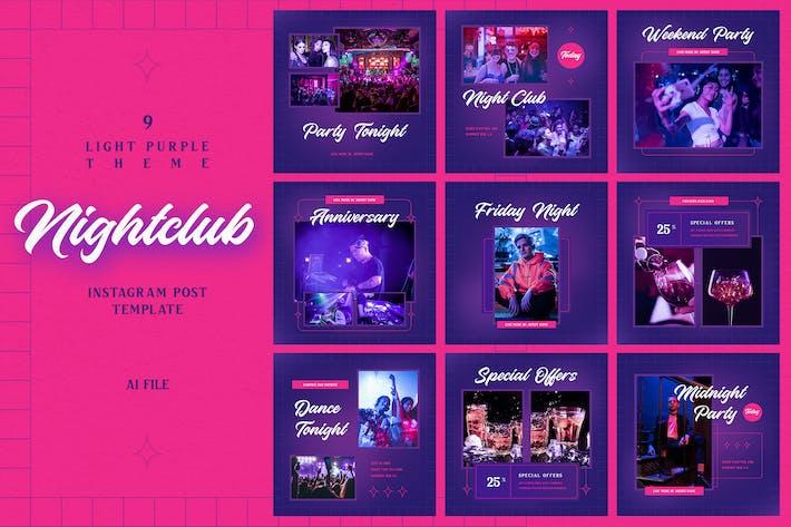 Thumbnail for Thème violet clair - Boîte de nuit Instagram Post