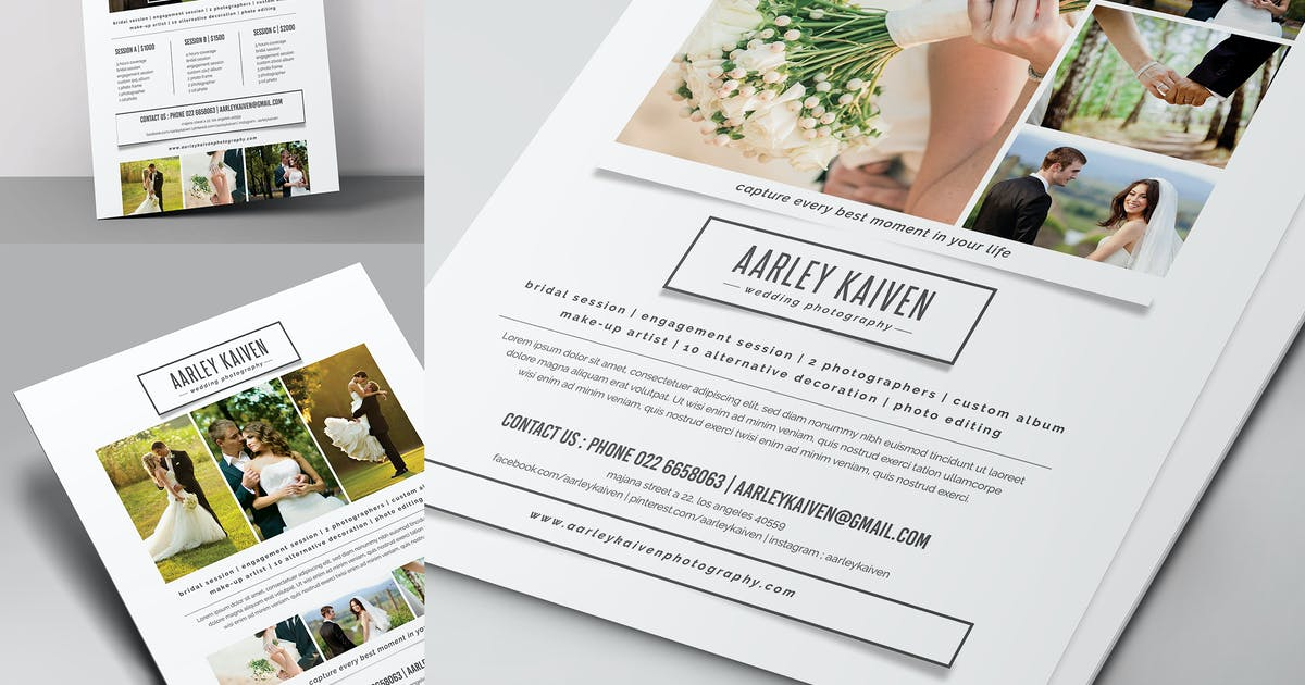 Simple Wedding Photography Flyer by aarleykaiven on Envato