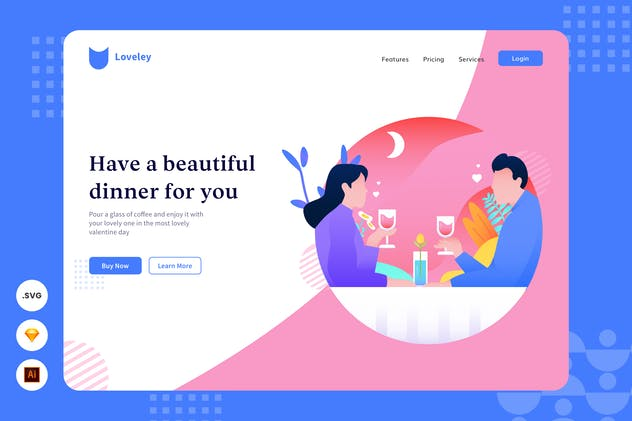 Beautiful Dinner - Website Header - Illustration