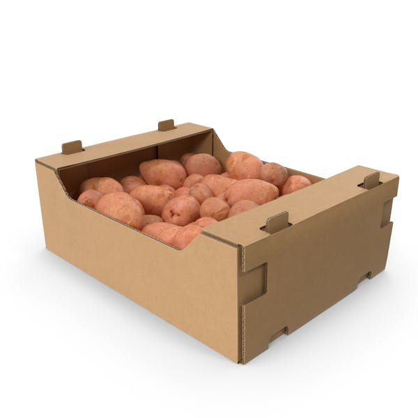 Cardboard Box with Red Potatoes