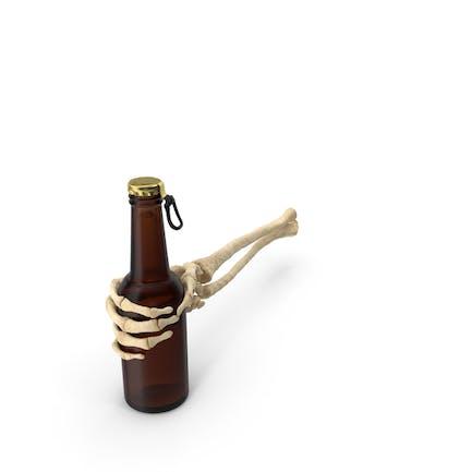 Skeleton Hand Holding Beer Bottle