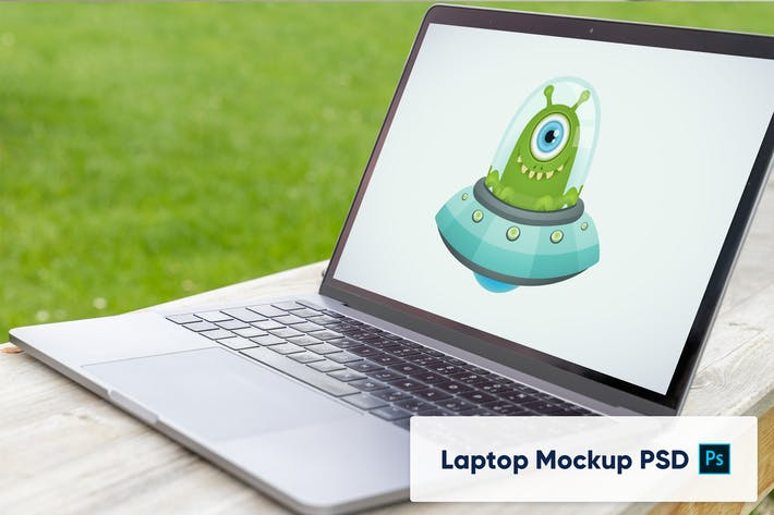 Thumbnail for Laptop computer in the garden - Mockup PSD