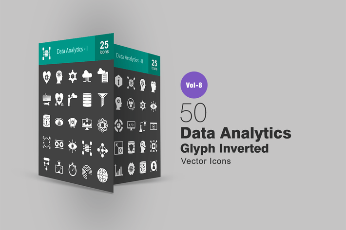 Thumbnail for 50 Data Analytics Glyph Inverted Icons