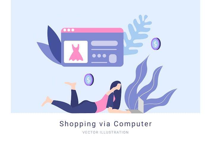 Thumbnail for Shopping via Computer Vector Illustration