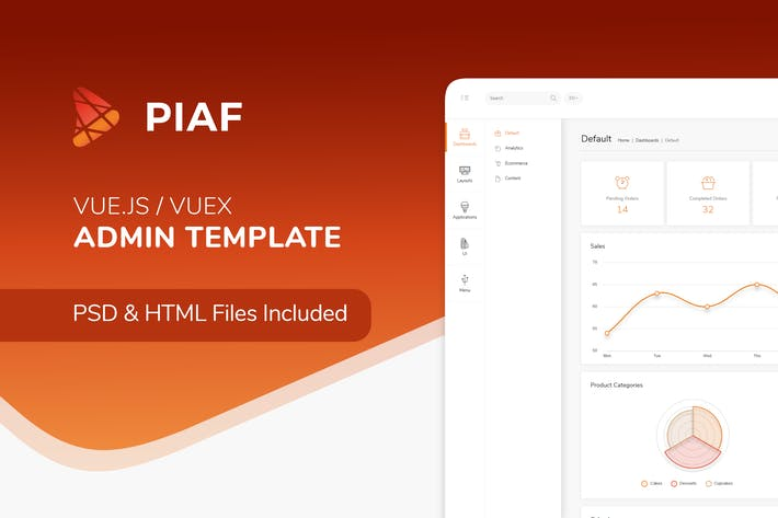 Thumbnail for Piaf Vuejs - Vuejs Admin Template