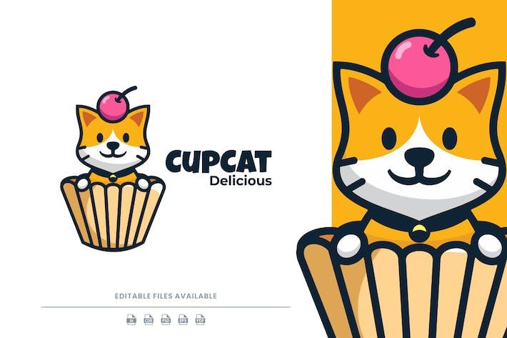 Karikatur-Logo Tasse und Katze