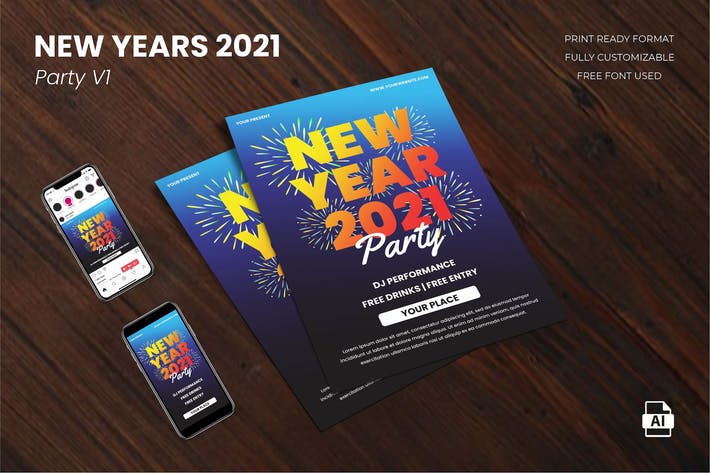 Thumbnail for New Year Party 2021 Flyer Template Vol. 01