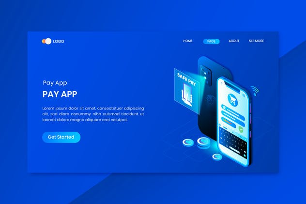 App Pay Online Isometric Concept Landing Page