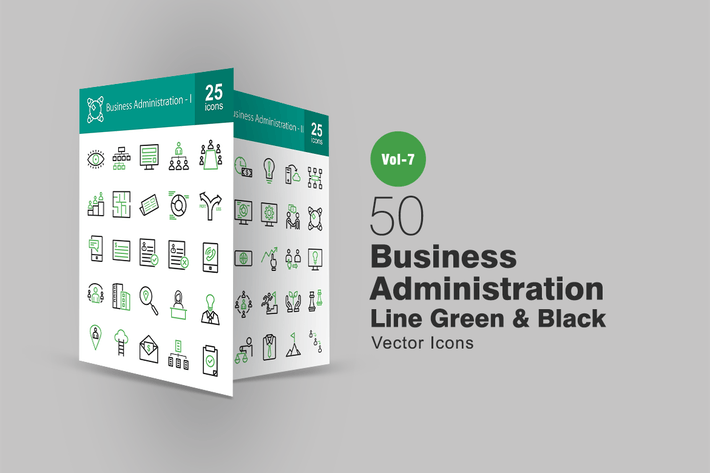 Thumbnail for 50 Business Administration Line Green & Black Icon